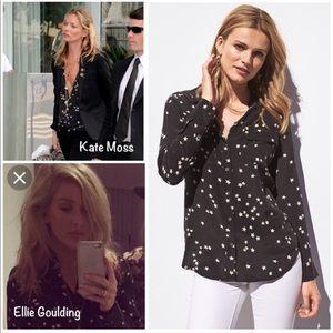 Equipment slim signature star print blouse L